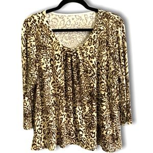 Long Sleeve Animal Print Top with Paillettes Sz L